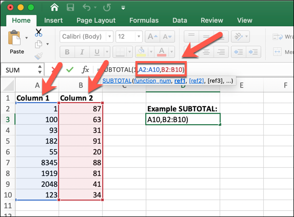 An Excel worksheet showing the SUBTOTAL formula being used to count the number of cells in a specified range