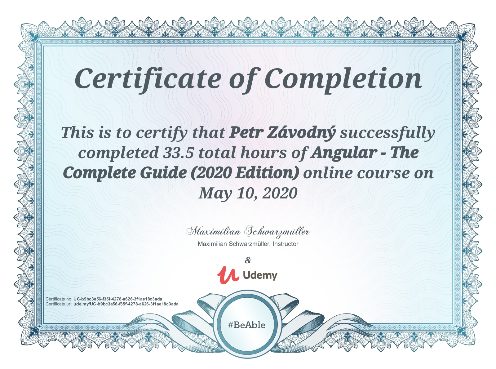 certificate Angular - The Complete Guide (2020 Edition)