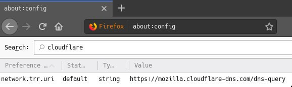 The about:config page which shows the Cloudflare DNS address in the network.trr.uri string.