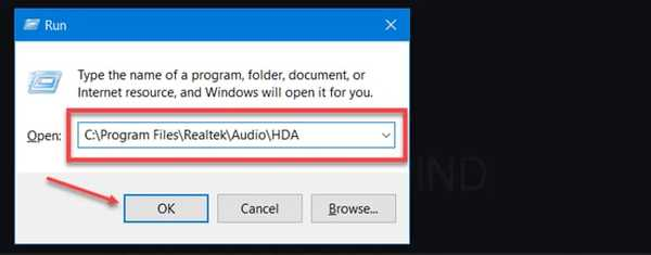 Open Realtek hd audio manager folder using Run Command