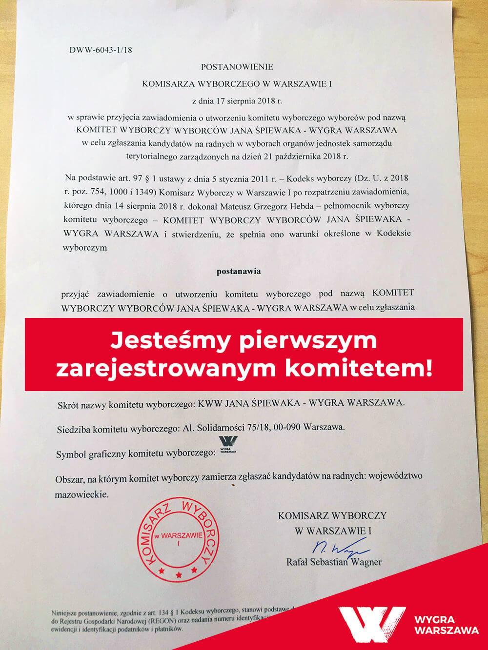 Już nie ma odwrotu. Stajemy w szranki z PiS i PO. Jako Wygra Warszawa chcemy pokazać, że o miasto mogą dbać ludzie, którzy widzą nie interes partyjny, ale interes mieszkańców.