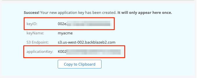 Application Key confirmation message including required credentials information