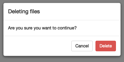 A dialog box checking whether or not you want to delete some files.