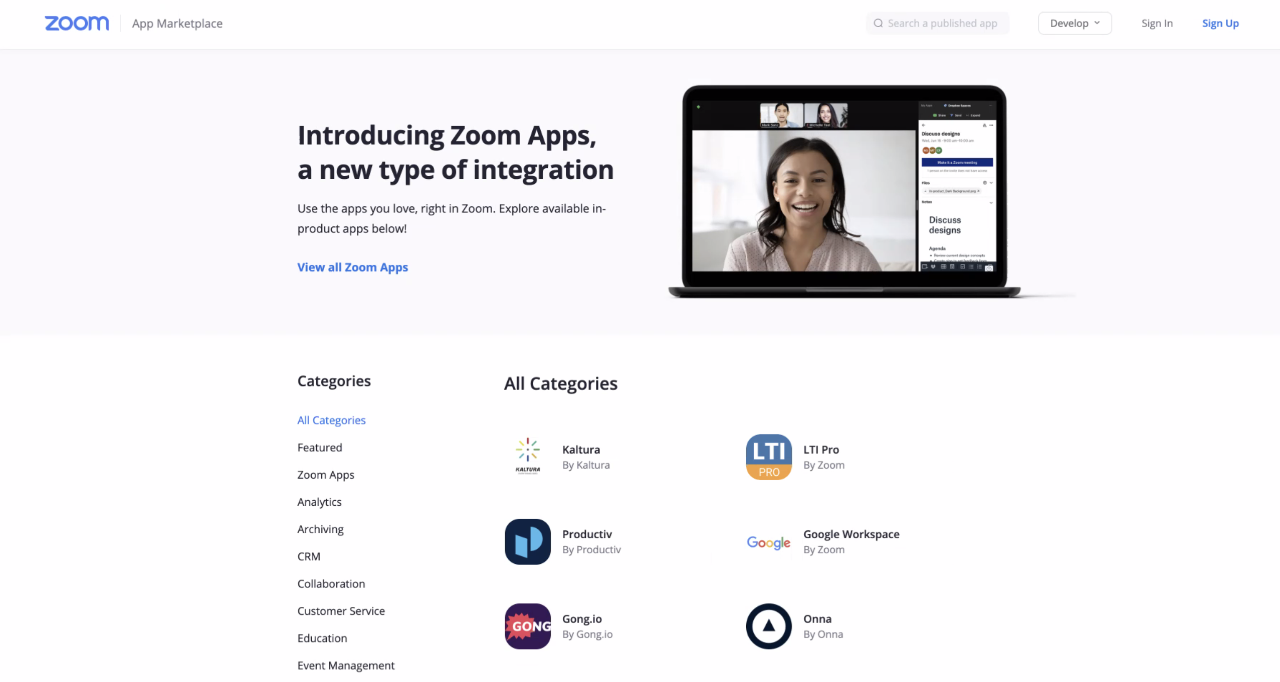 The Zoom login page.