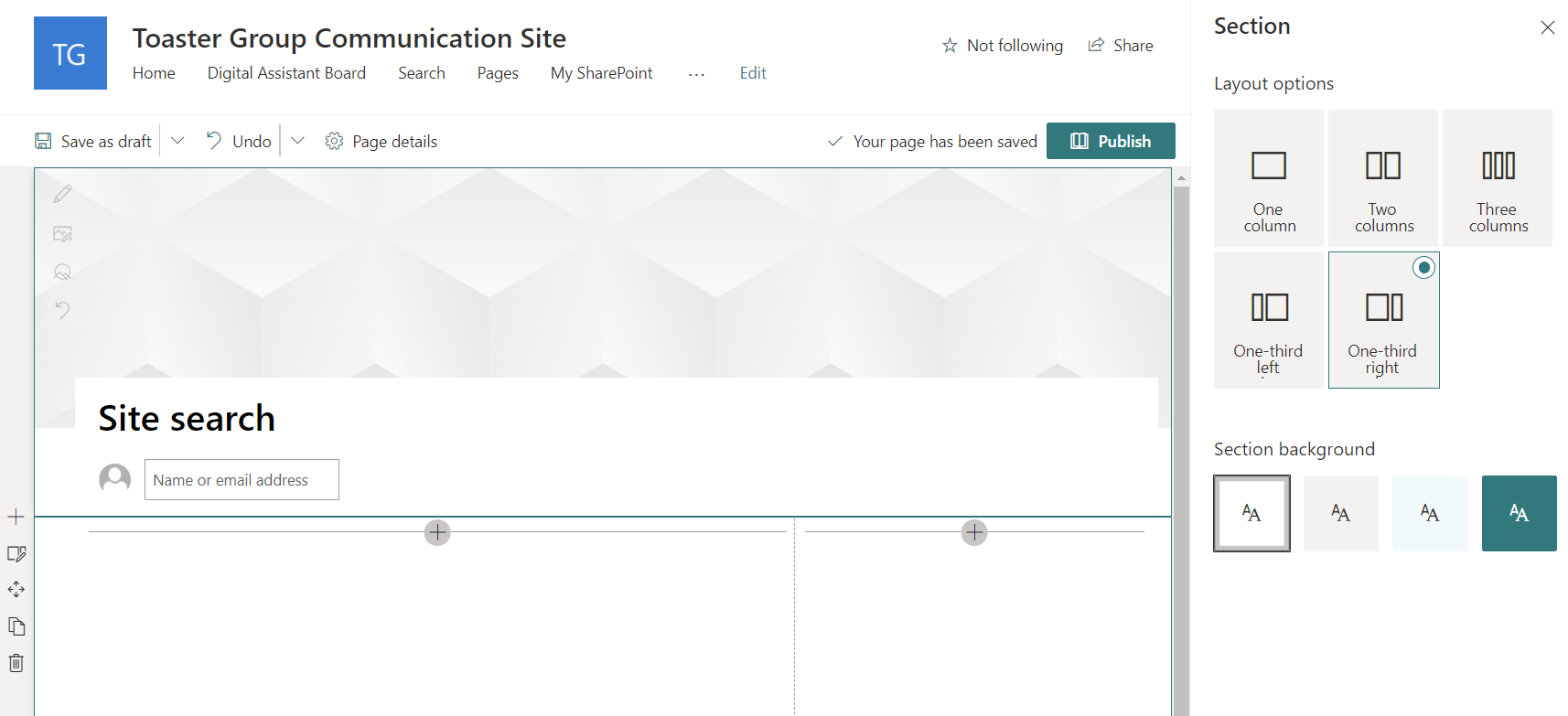 New, empty SharePoint page with layout options open