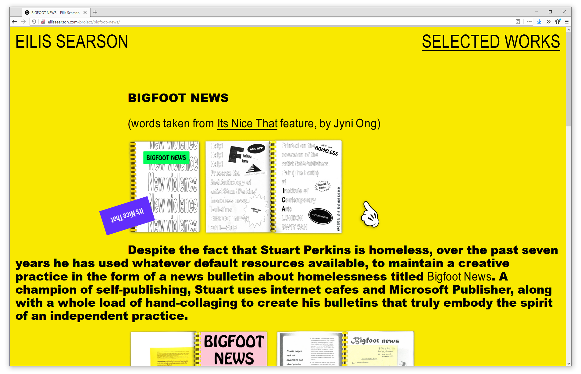 Screenshot of web browser showing a project page  on eilissearson.com. Heavy, black, sans-serif type is set on a bright yellow background. Scanned images of a magazine sit between the paragraphs. The title reads 'BIGFOOT NEWS'.