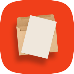 Open paper envelope with a blank sheet of white paper on top