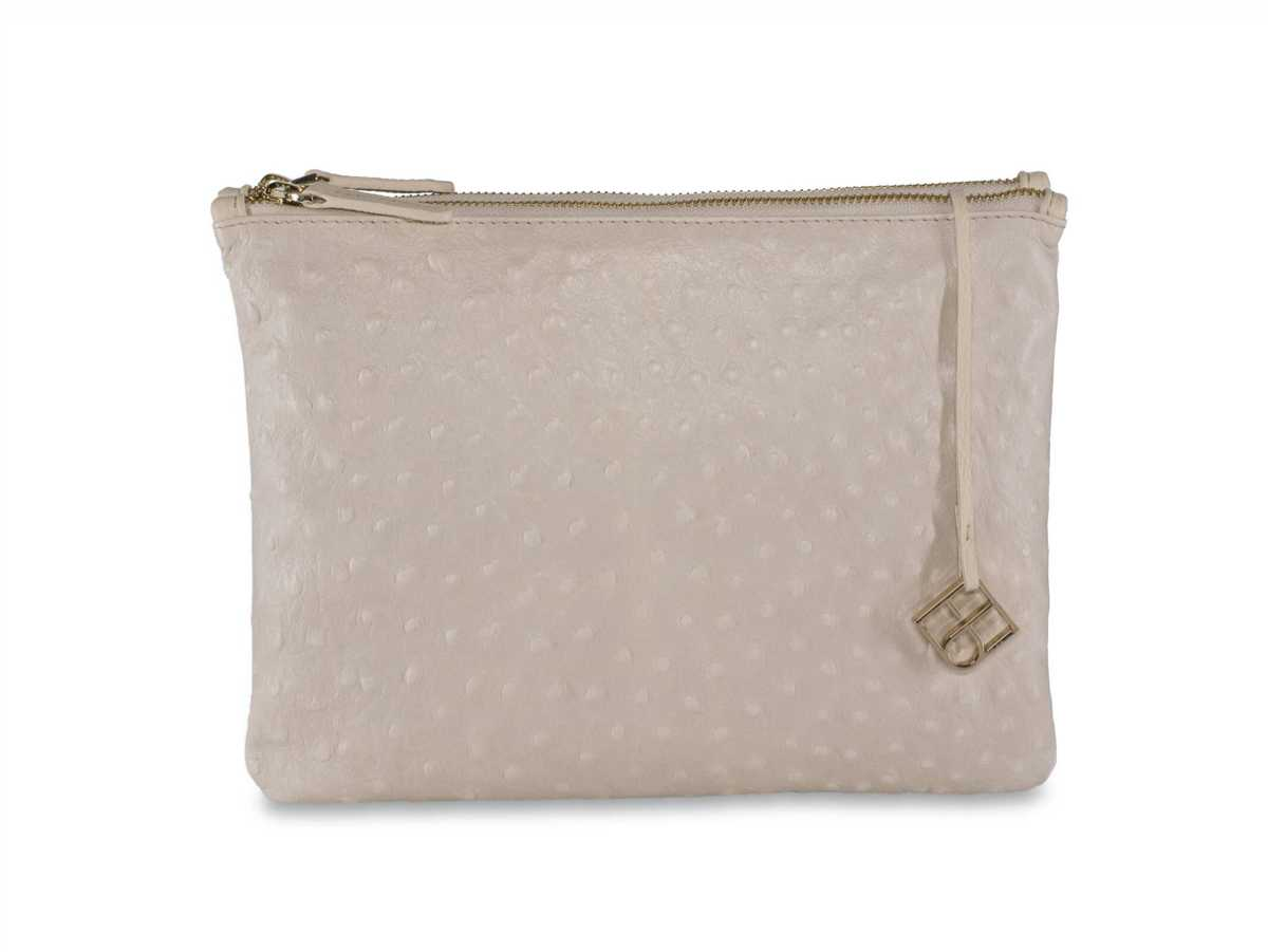 Peacock Pouch Double – off white ostrich-look