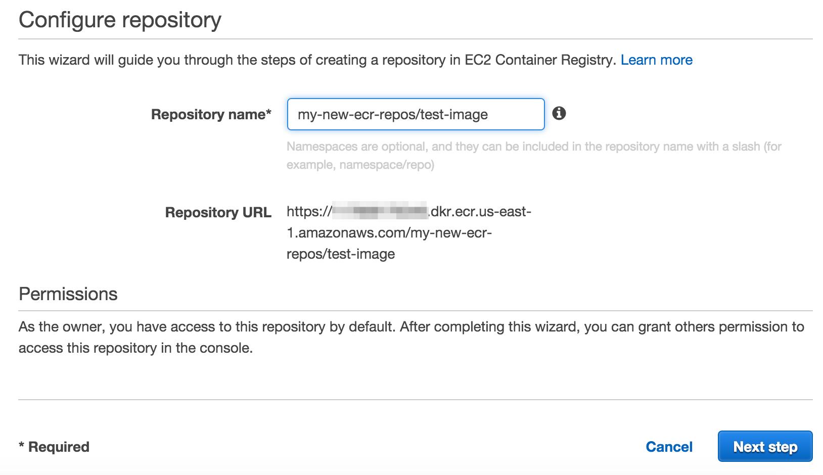 新しい Amazon ECR Repository の作成