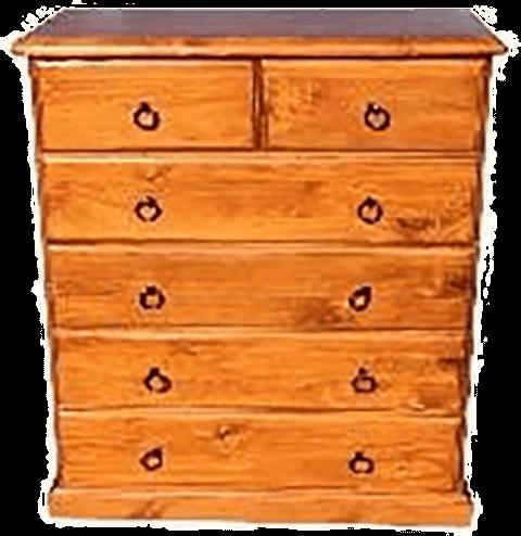 6 drawer 'Classic' pine tallboy - light colour