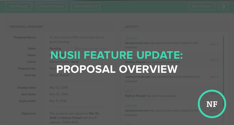 Feature Update: Proposal Overview