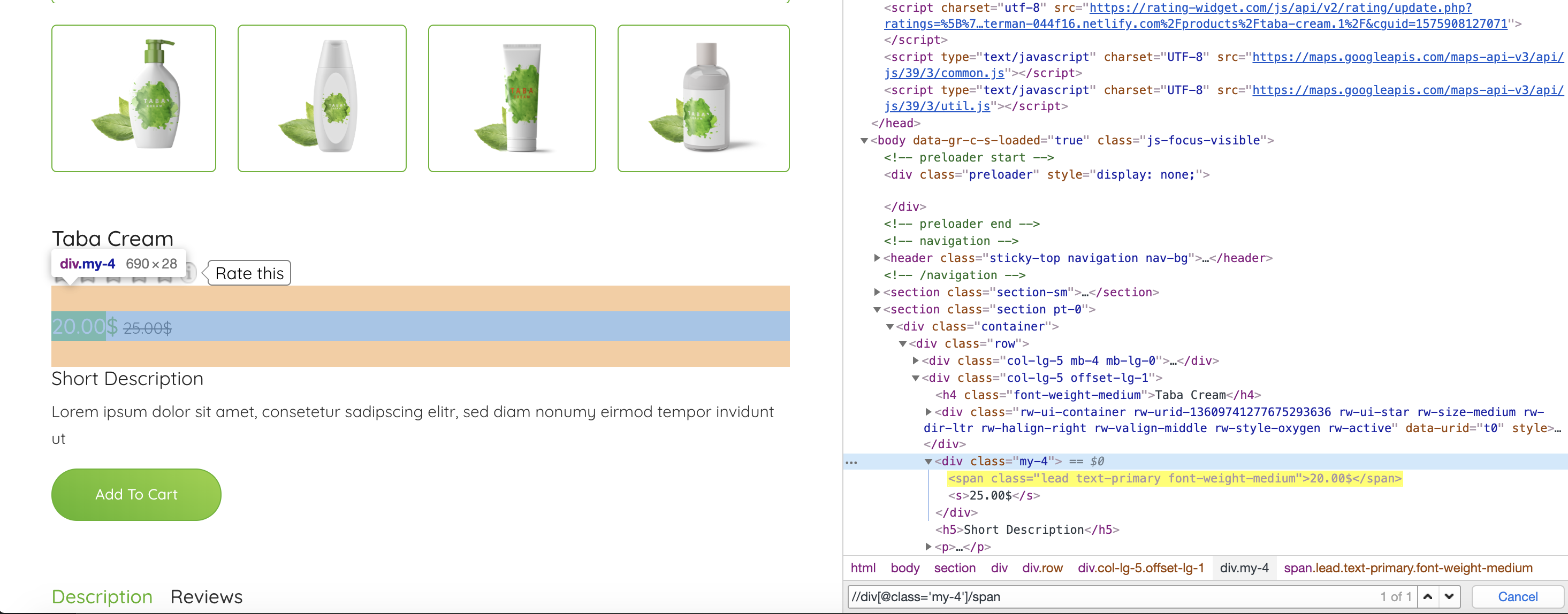 E-commerce product page with Chome dev tools opened.
