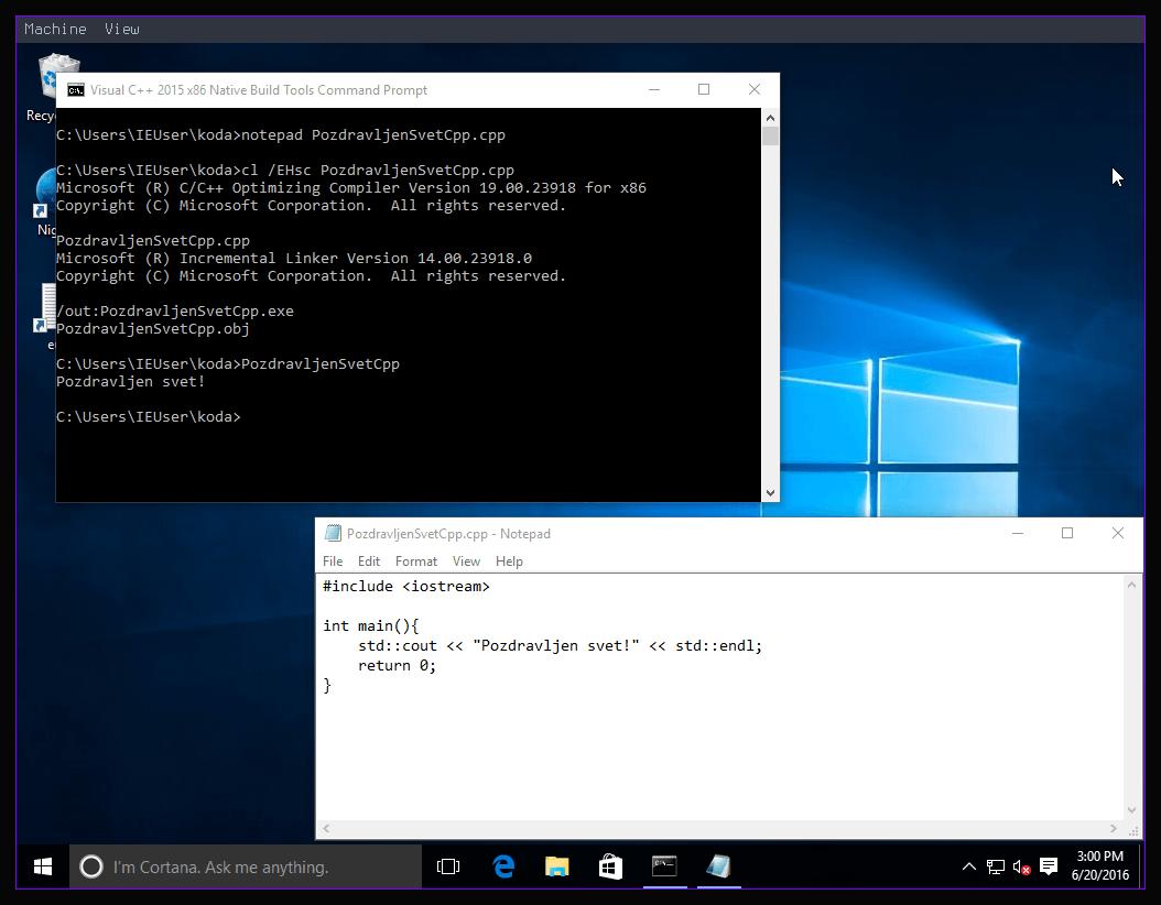 Slika 8: Windows 10 C++