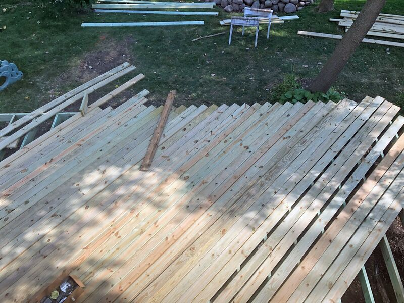 bird's eye view of unfinished decking
