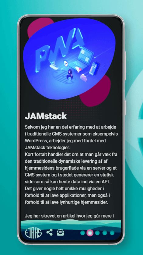 Skærmbillede af larsejaas.com webudviklingsside på en smartphone