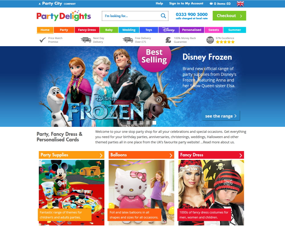 Party Delights website with redesigned multicolour logo, more minimal UI.