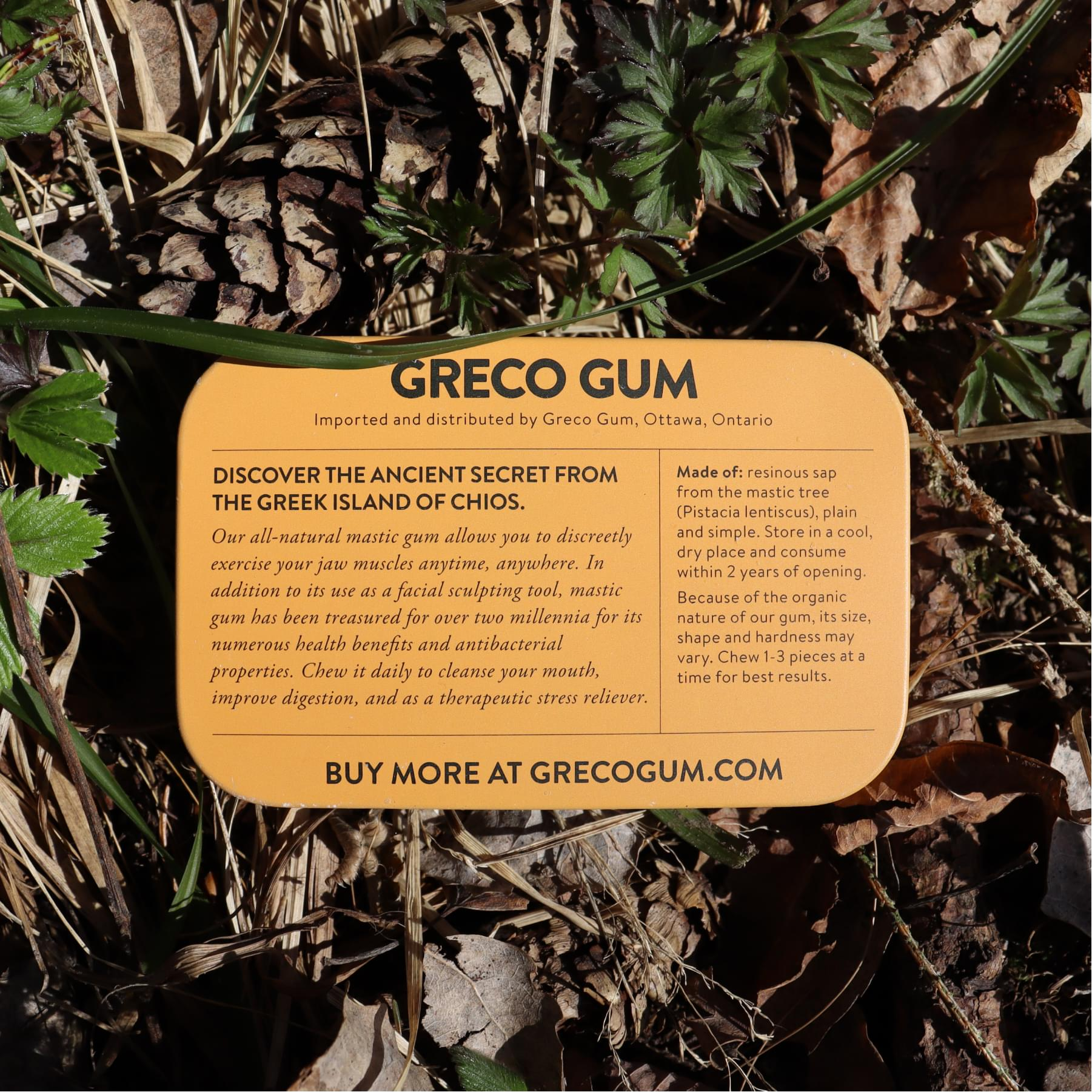 Packaging design for Greco Gum natural health e-commerce brand