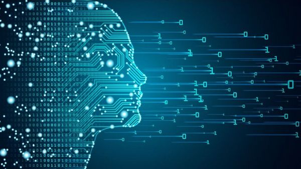 Eine digitale Abbildung eines menschlichen Kopfes aus Schaltkreisen und Leiterbahnen, der sich in einzelne Datenpunkte aus Nullen und Einsen auflöst.