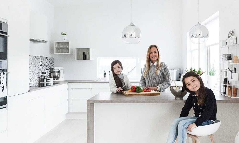 Hjemme hos familien samlet