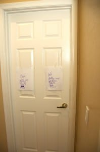Door with signs