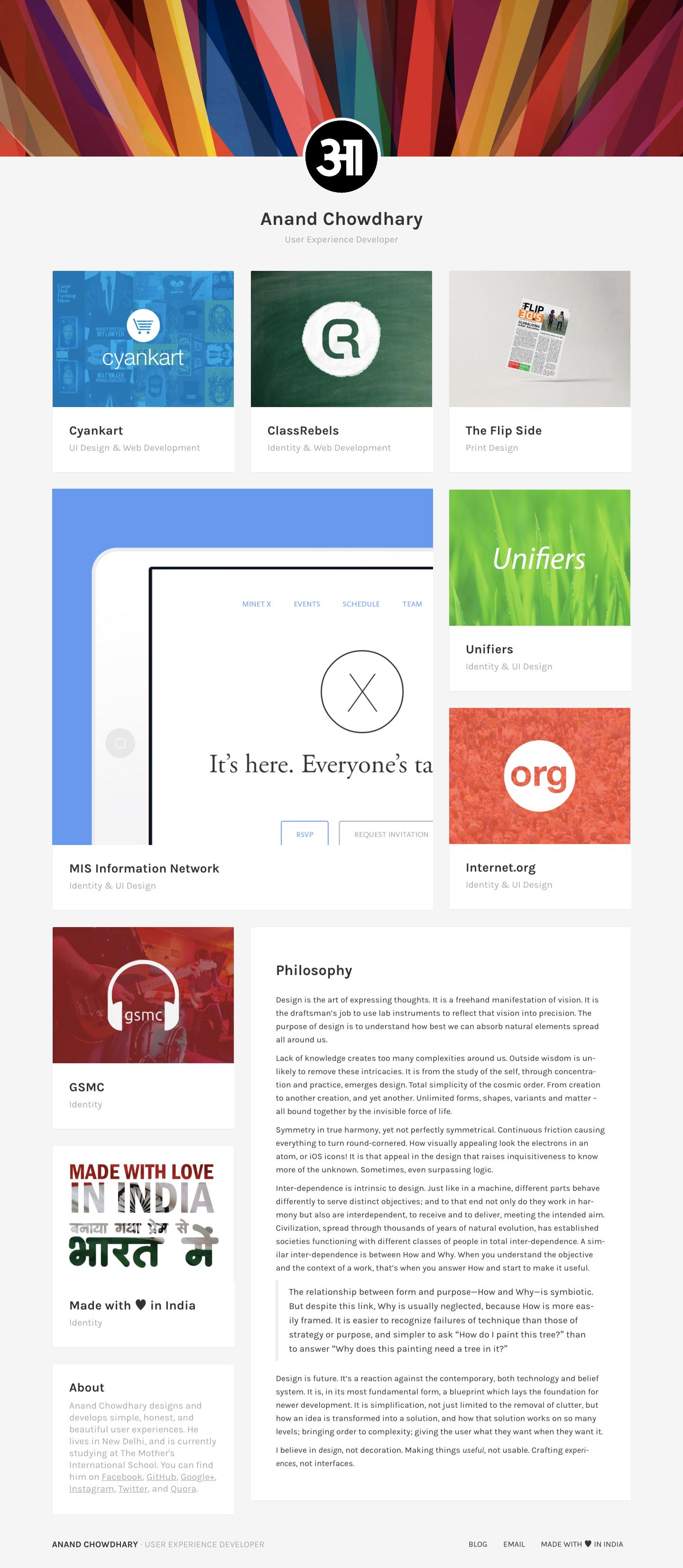 Screenshot of Artistic homepage