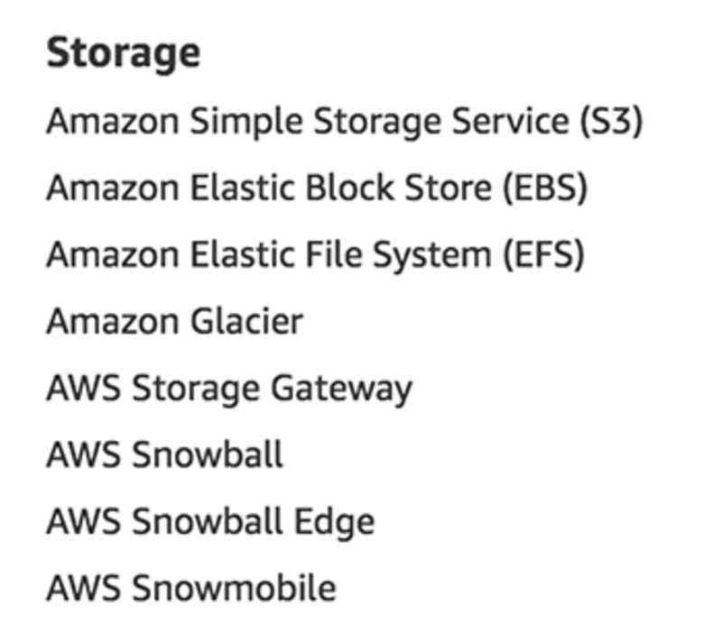 AWS Storage Services as listed on aws.amazon.com