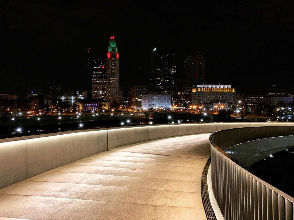 Downtown Columbus Ohio at night from a distanced perspective