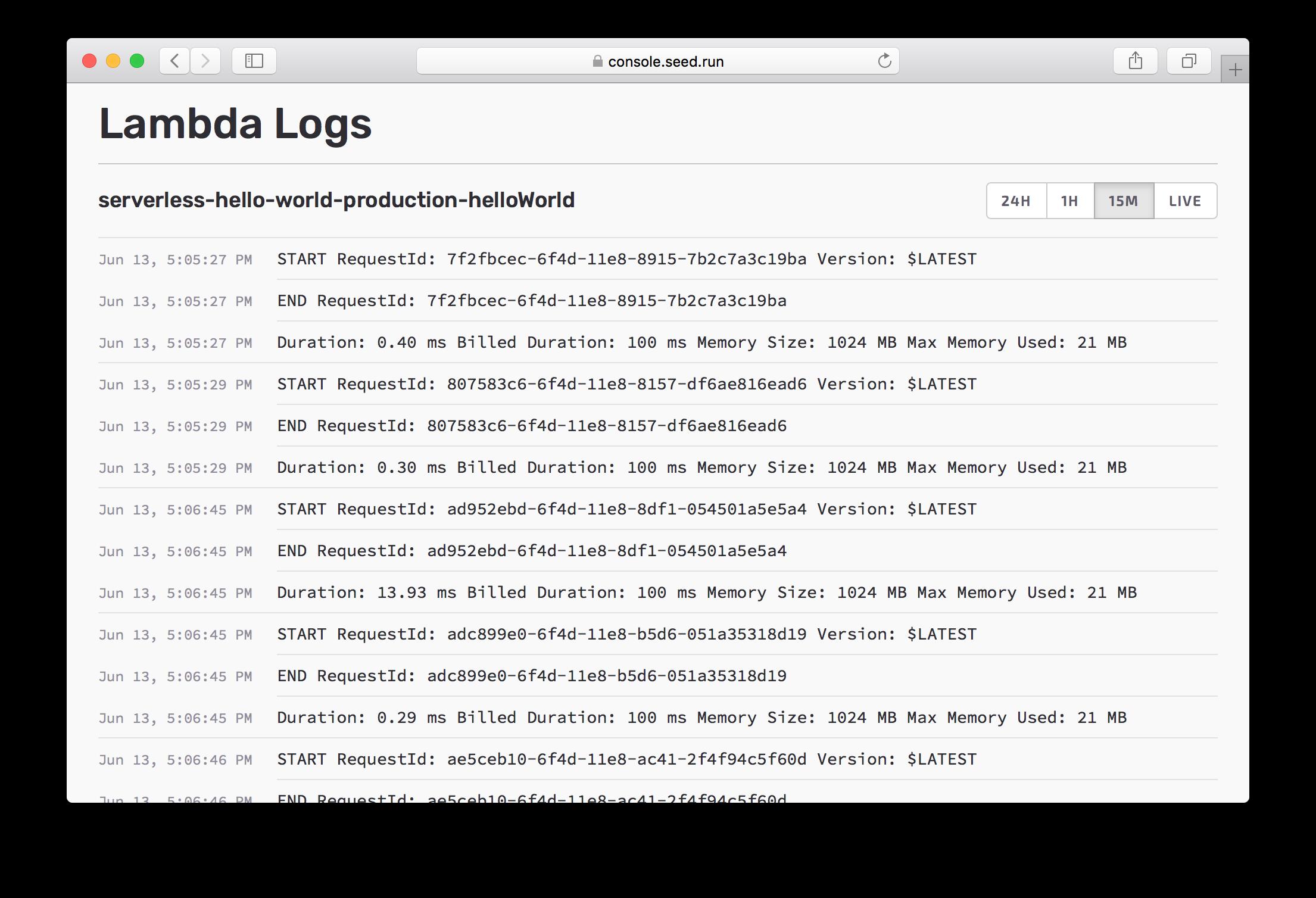 Lambda Logs