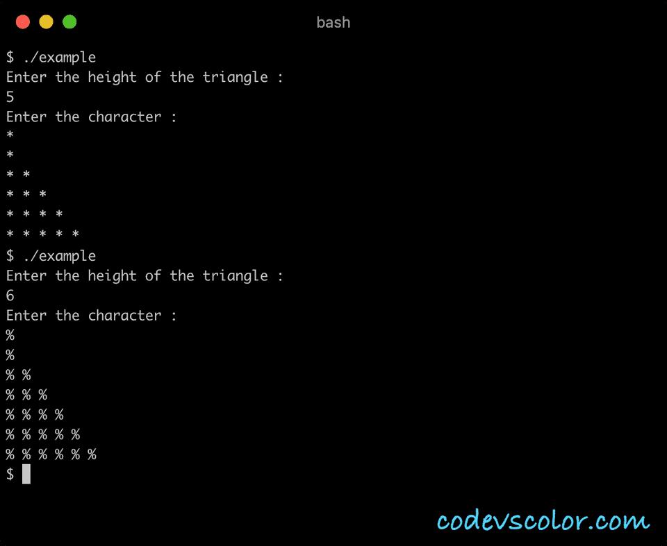 C++ half pyramid character