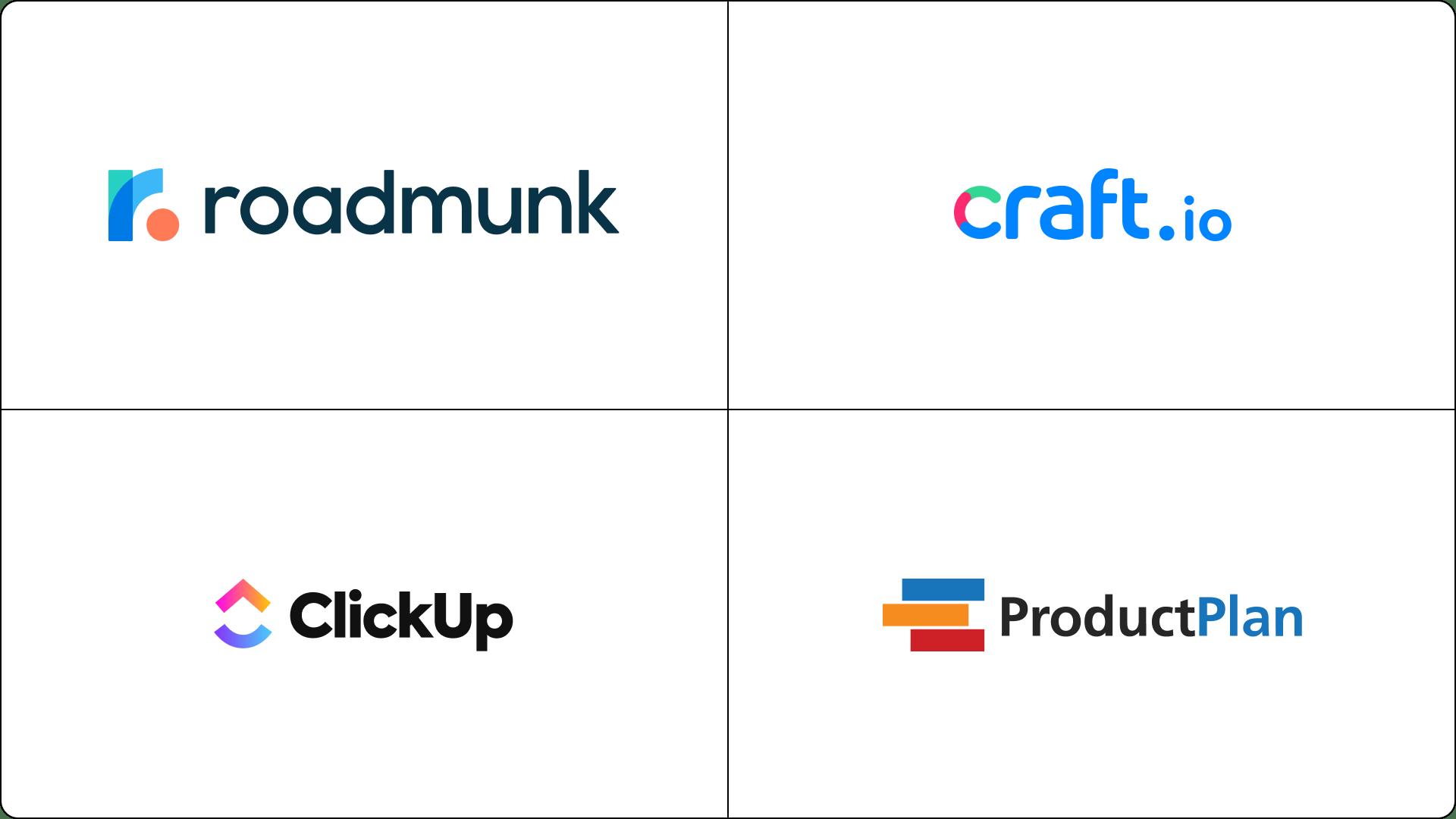 Project roadmap tools - Roadmunk, Craft.io, ClickUp, ProductPlan