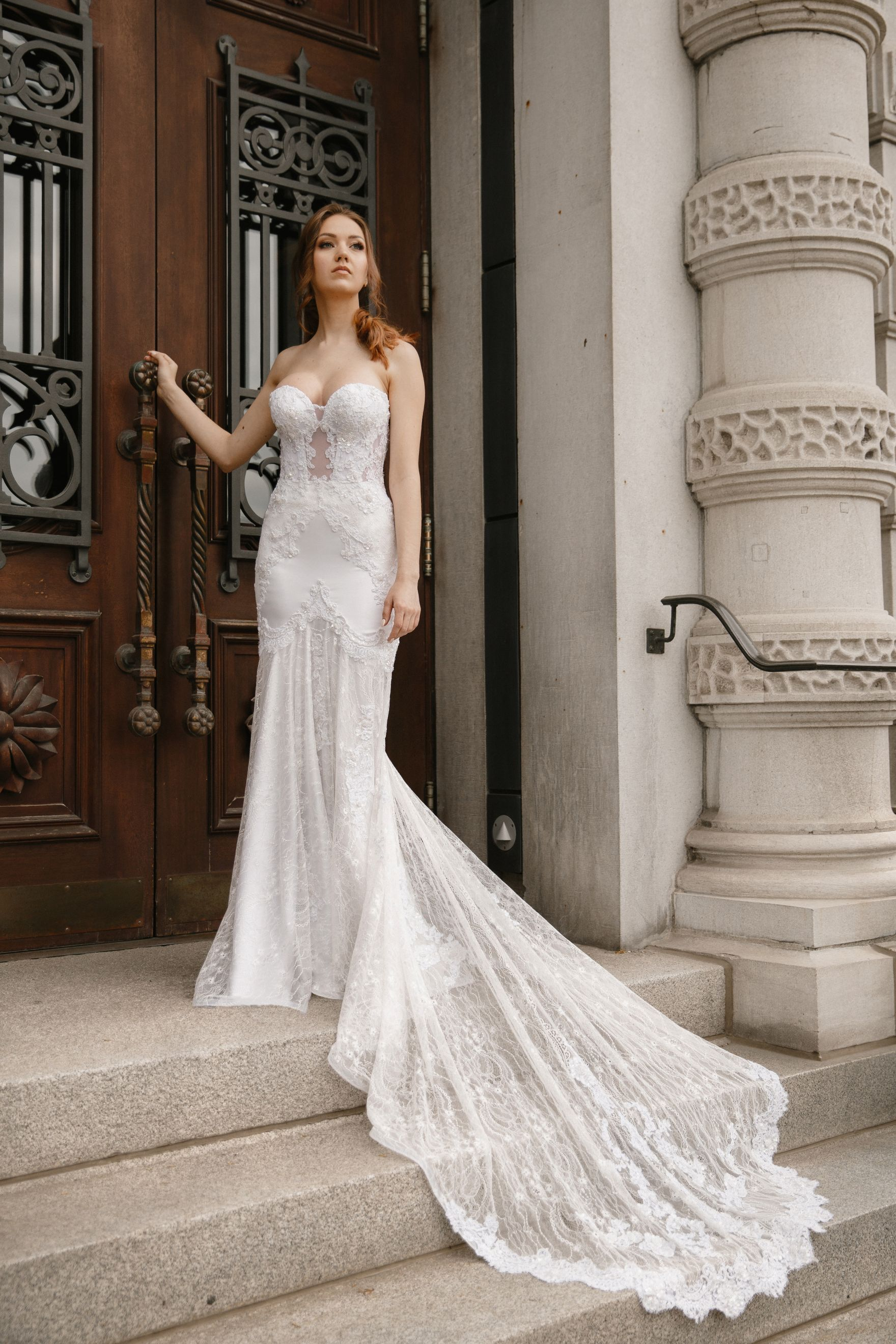 lace wedding dress montreal lilia haute couture luxury wedding gown