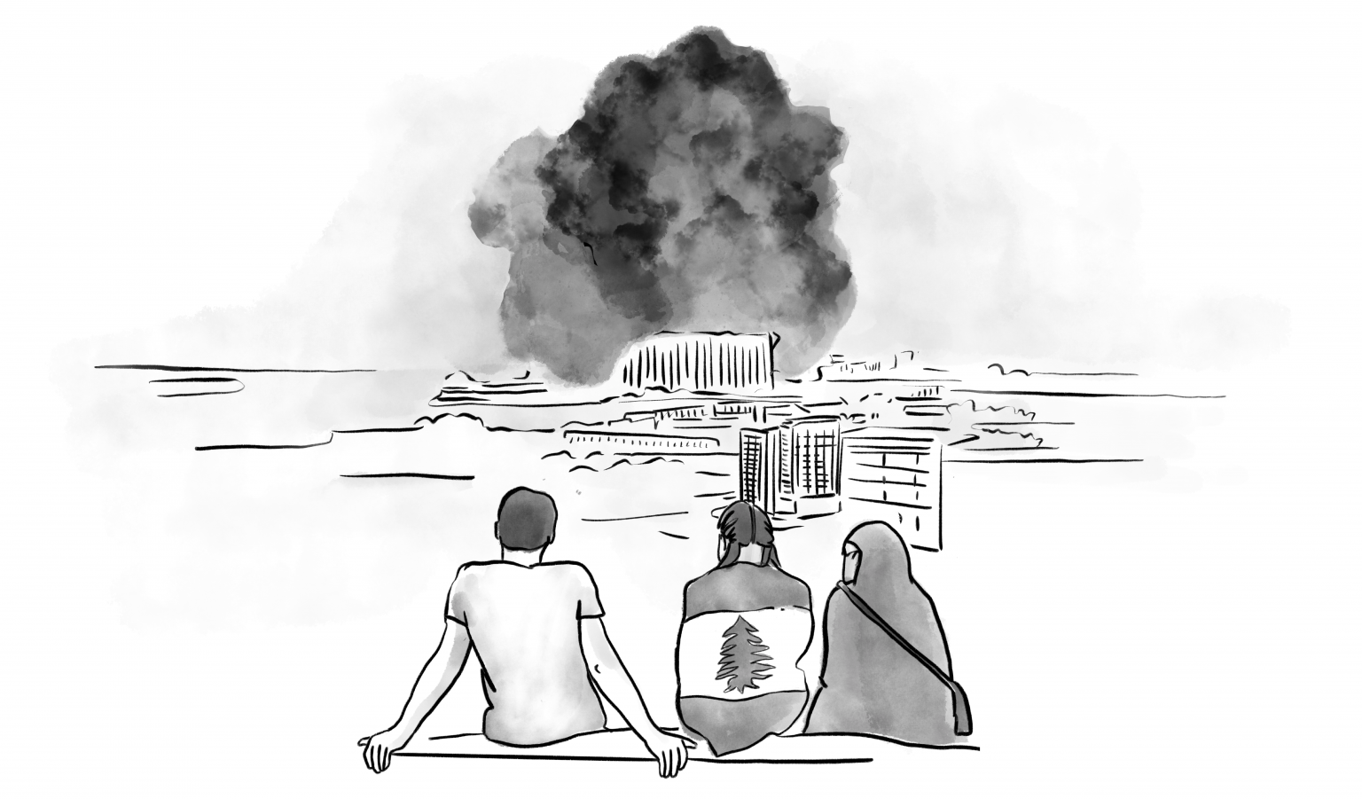 black and white illustration of three people on a hill overlooking beirut