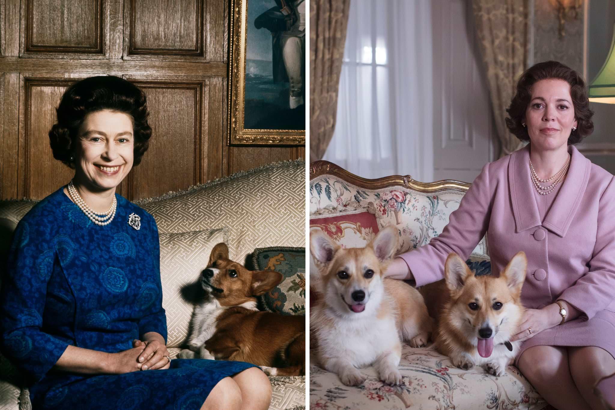 1970-е: королева Елизавета IIвжизни (слева) ив3сезоне сериала «Корона» (справа). Фото: Fox Photos / Hulton Archive / Getty Images; Des Willie / Netflix