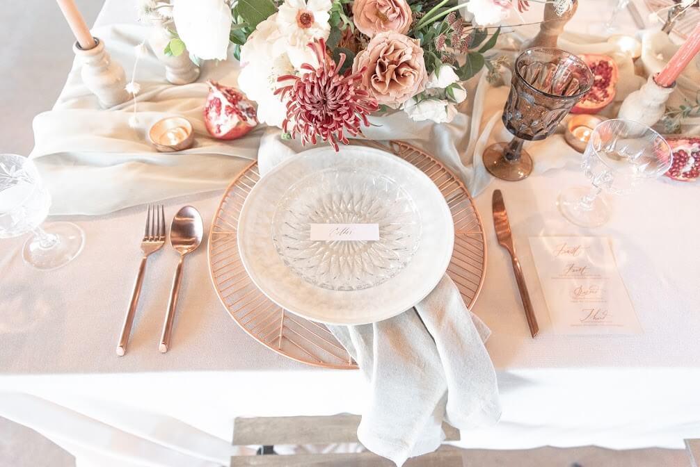 elegant dishes setting