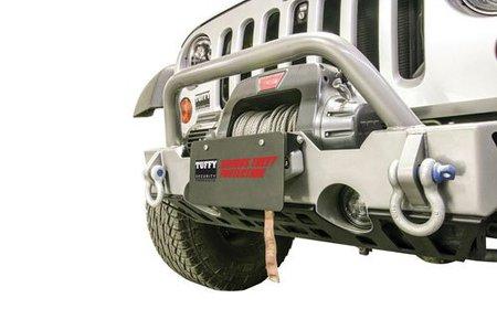 Flip-up hawse fairlead license plate mount
