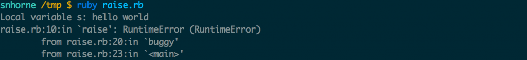Example exception logs