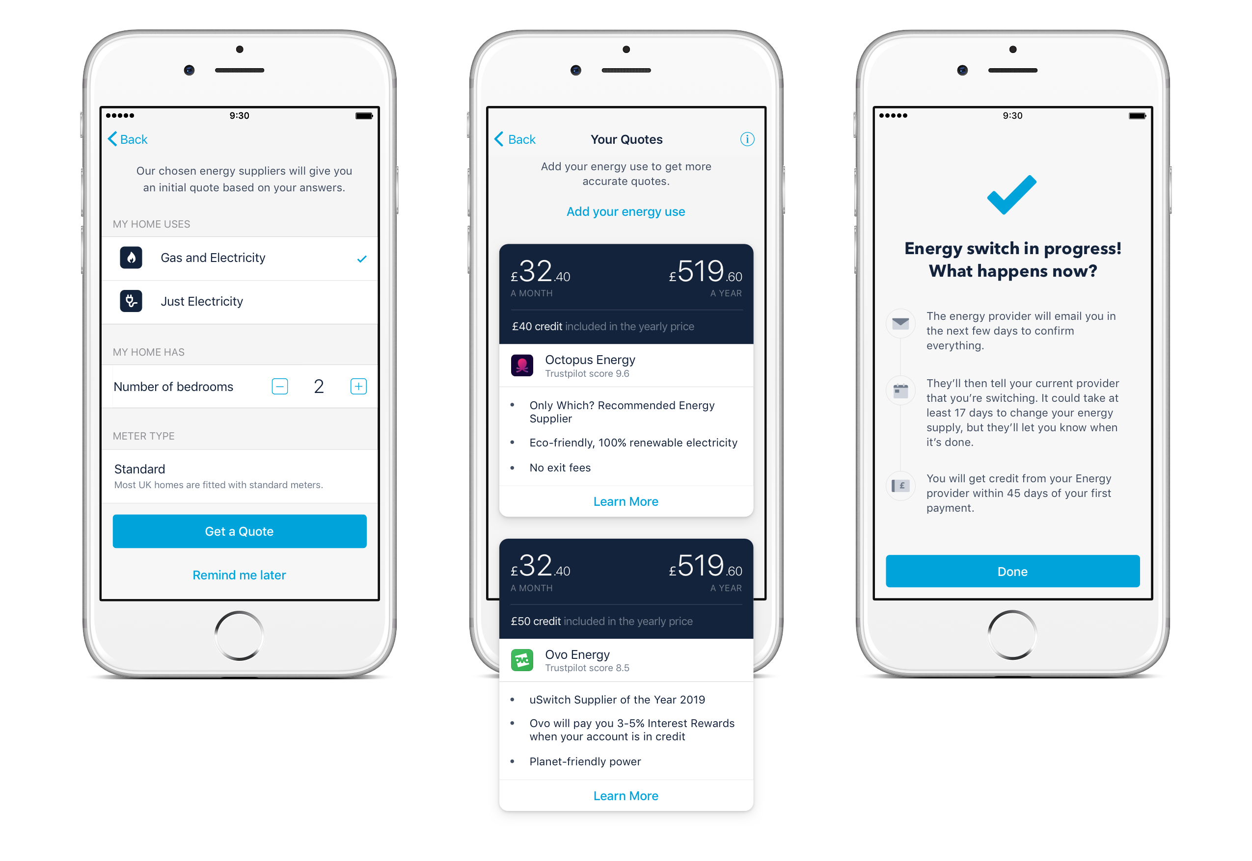 Screens showing the option to switch to OVO Energy or Octopus Energy through the Monzo app