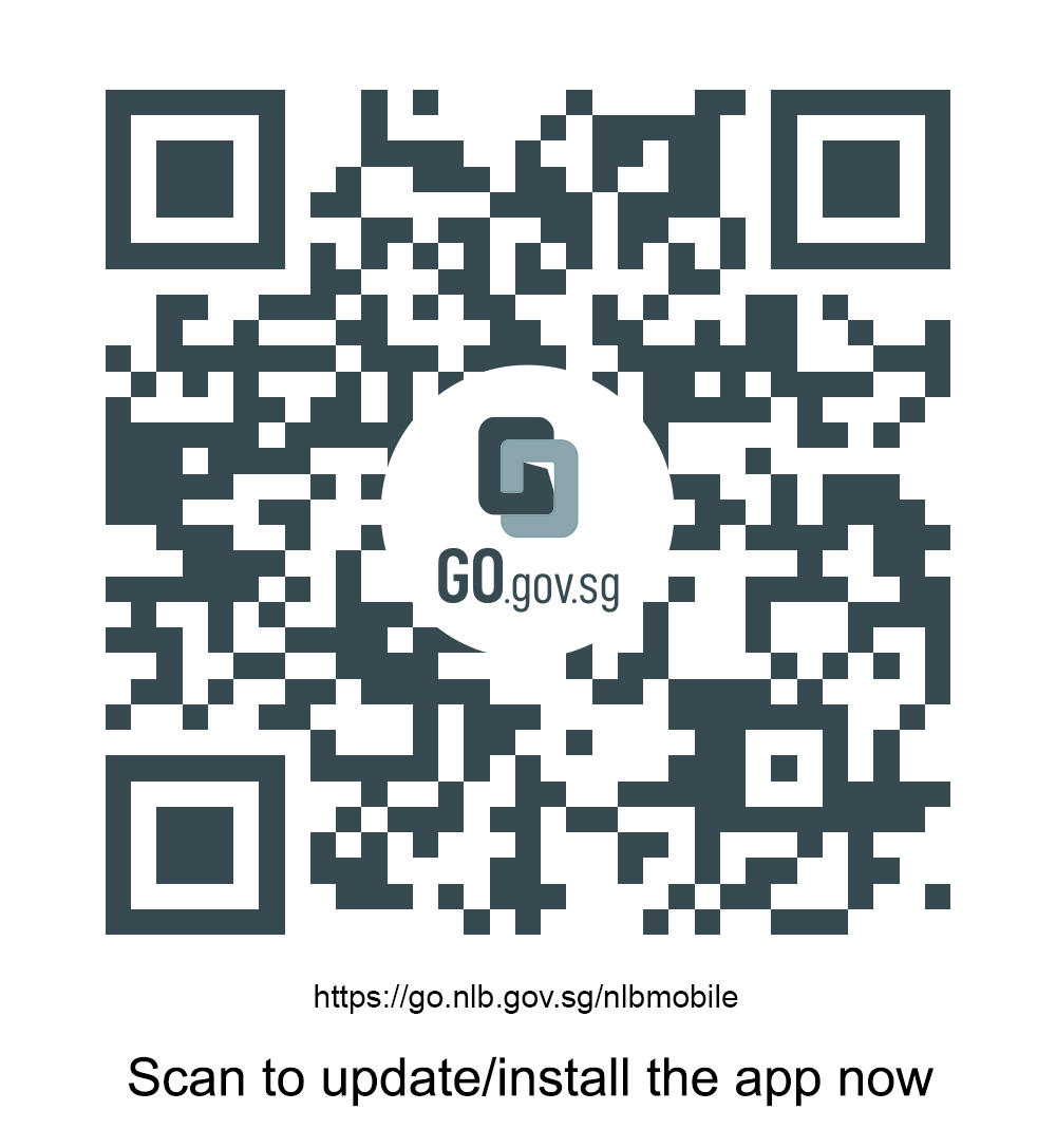 A QR code which leads to the NLB Mobile app installation page in the AppStore or Google Play Store.