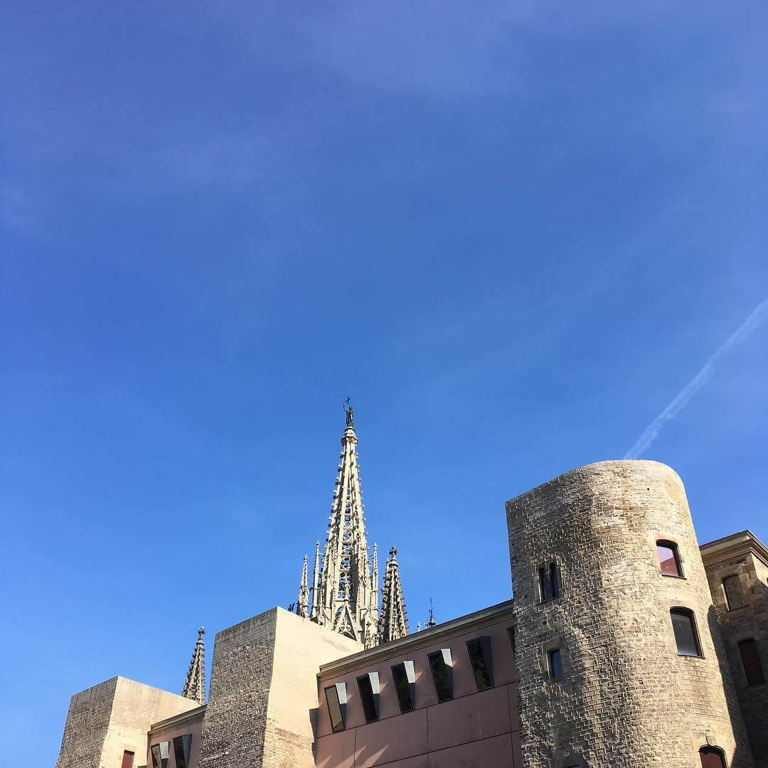 Skyline view with Cathedral of the Holy Cross and Saint Eulalia poking out