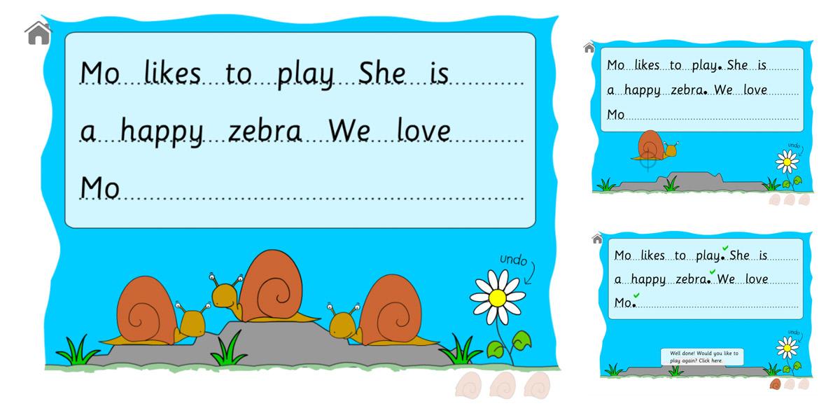Image of HTML5 game for teaching full stops