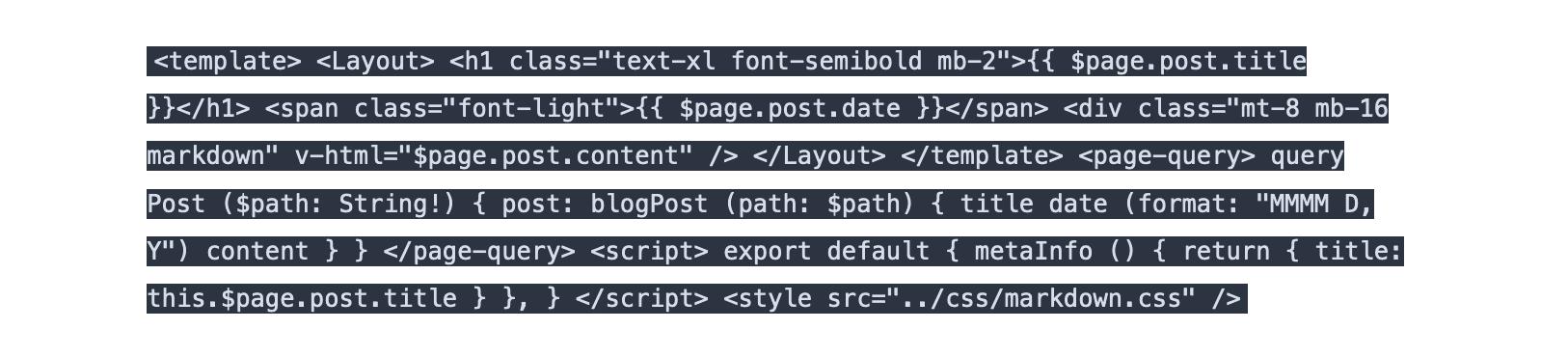 Blog post with broken syntax highlighting
