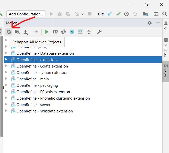 Screenshot of Maven project controls in IntelliJ