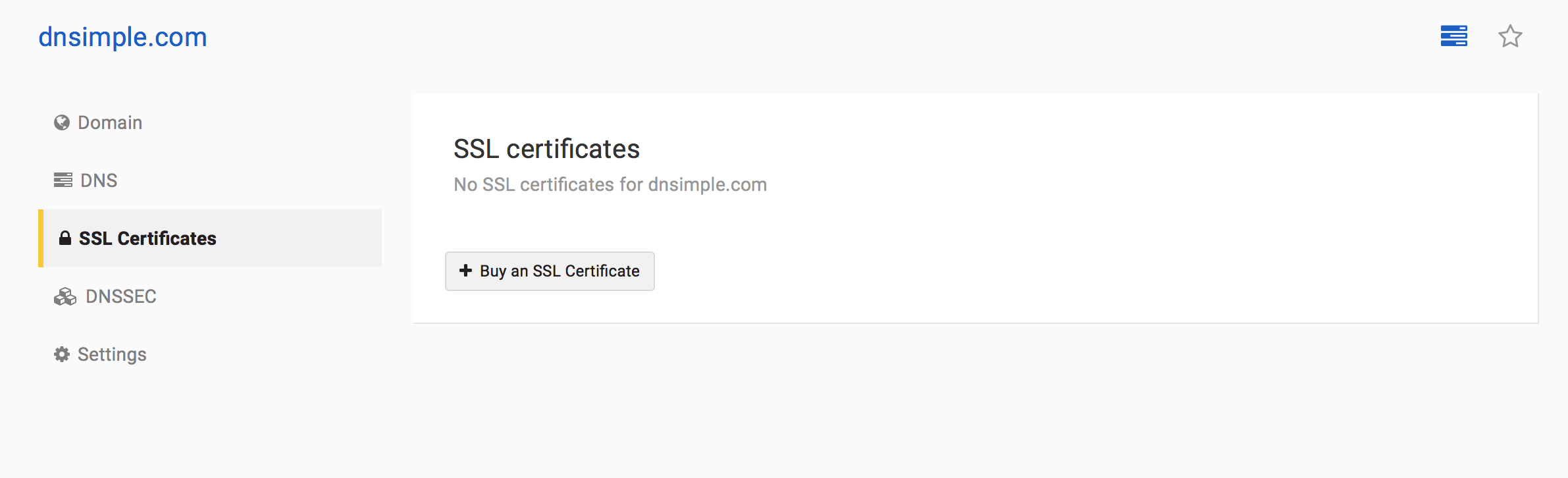 SSL Certificate section