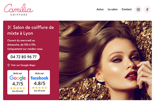 Screenshot of Camilia Coiffure
