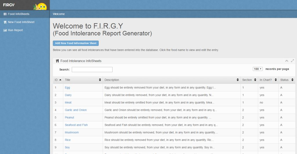 Home page of the FIRG application
