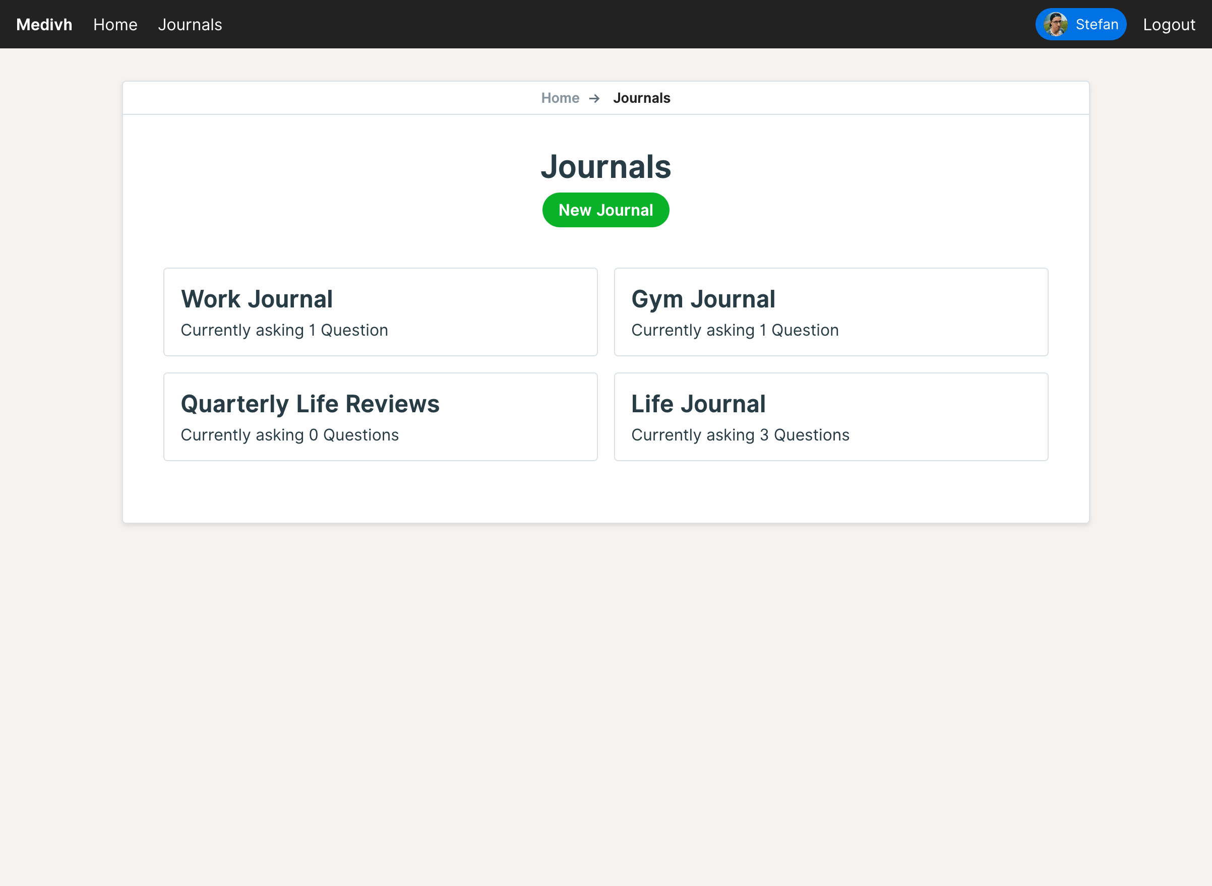 Overview of all available Journals of the current user