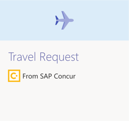 Travel Request Card from Concur