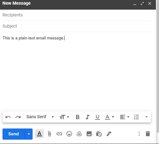 Screenshot of plain-text email message