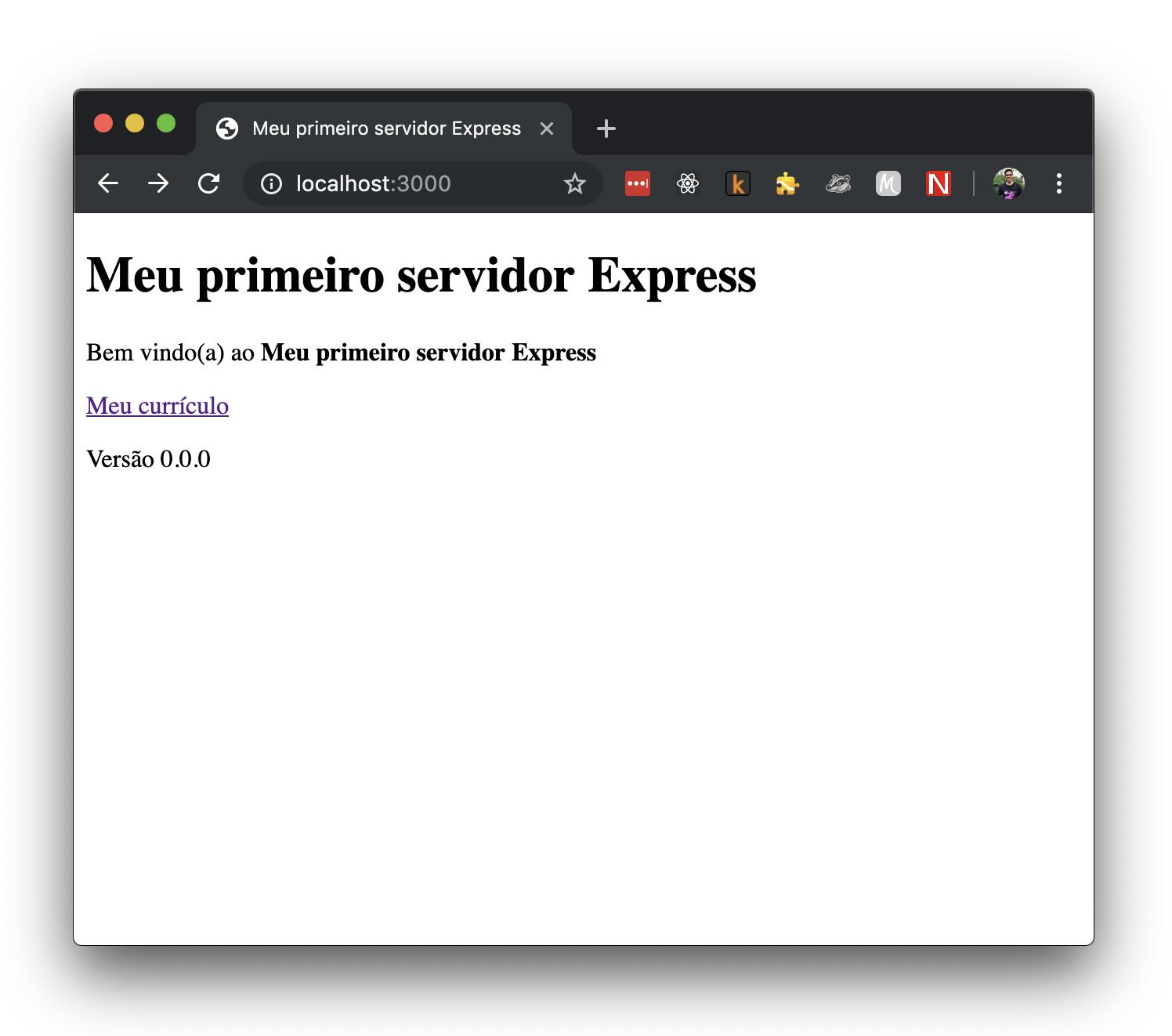 Imagem do navegador com o conteúdo retornado pelo nosso servidor