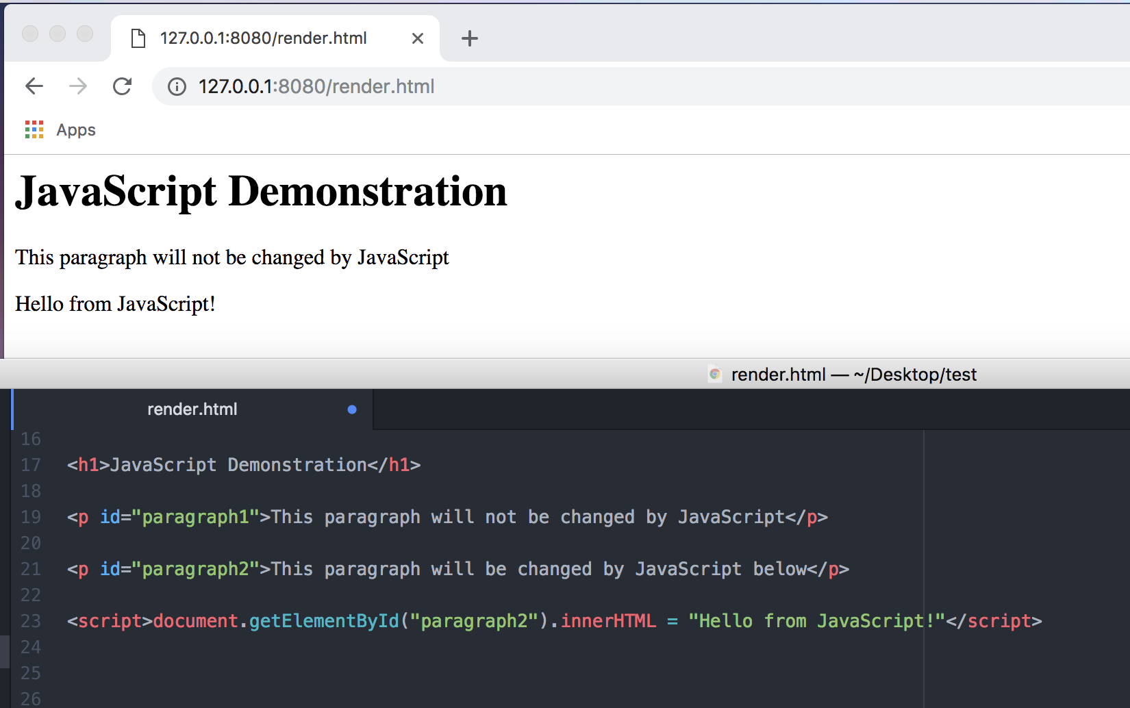 A screenshot showing JavaScript being used to replace text on a page